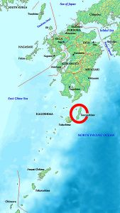 The location of Tanegashima island in reference to Kyushu. Tanegashima was the site of the first Portuguese landing in Japan.
