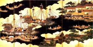 A Portuguese fleet coming to Japan for trade.
