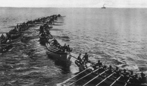 Japanese marines coming ashore during their assault on Tsingtao, a German-held territory in China.
