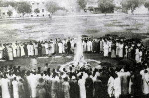 Chinese students from Tsinghua burn Japanese goods during the May 4th Movement.