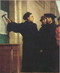 In 1517, Martin Luther nailed 95 theses for debate to the door of All Saints Church in Wittenburg, Germany. His defiance of the Catholic hierarchy touched off the Protestant Reformation in Europe.