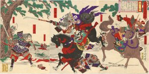 Tomoe Gozen in action. Note the decapitated corpse beneath her.