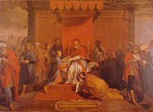 The so-called Tensho Embassy, a group of Otomo-clan samurai sent to Europe in the 1580s. Here they are shown meeting Pope Gregory XIII.
