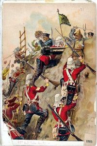 British foot soldiers storming Chinese positions during the First Opium War, (1839-1842), which would demonstrate the weakness of the once mighty Chinese Empire.