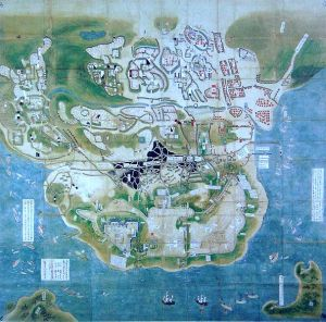 The siege of Hara castle during the Shimabara Rebellion. Dutch ships are visible in the south.