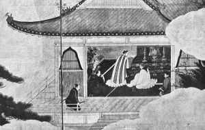 A period woodblock showing celebration of a Christian mass by Japanese converts.