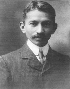 Mohandas Karamchand Gandhi. This picture is from 1909.