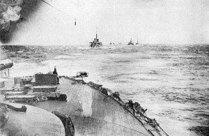 The Japanese Combined Fleet, shot from the flagship Mikasa as it moved to engage the Russians.