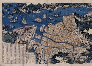 A map of Nagasaki, which grew into Japan's pre-eminent trade hub as a result of the Portuguese/Spanish trade. Note the foreign ships sailing into the harbor.
