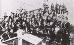 Bakufu troops being loaded onto transports and shipped to Hokkaido to serve the Ezo Republic.