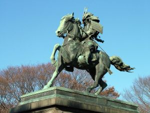 Kusunoki Masahige, Go-Daigo's loyal servant to the end. His valorous death earned him a statue in the Imperial Palace, but Ashikaga Takauji earned nothing but scorn in the Meiji Period.