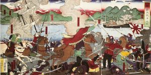 The Battle of Hakodate, the final combat of the Boshin War. Bakufu troops are charging in at left, facing Imperial troops at right. Soldiers in French uniform are visible at the bottom left on the bakufu side.