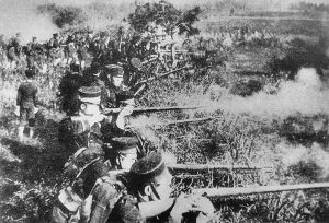Japanese infantry in a Napoleonic-style firing line during the Sino-Japanese War. Meckel's teachings emphasized orthodox, Napoleonic tactics of which the above is a good example.