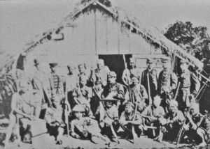 Japanese soldiers on Taiwan during the 1874 expedition to punish the natives of the island.