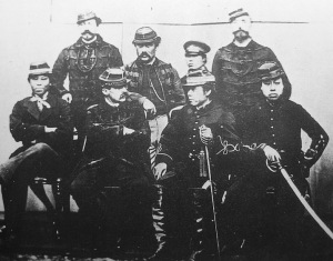 The French and Japanese military leadership of the Ezo Republic. The French officers were sent to serve the Tokugawa, but came to respect the Japanese to such a degree that they volunteered their services to fight for the final holdouts of the Tokugawa regime. Top row, left to right: Andre Casenueve, Jean Marlin, Fukushima Tokinosuke (one of their students), Arthur Fortrant. Bottom Row: Hosoya Yasutaro (one of the Japanese commanders), Jules Brunet, Matsudaira Taro (Vice President of the Ezo Republic), Tajima Kintaro