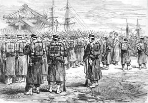 Soldiers of the Imperial Japanese Army boarding troop transports in Yokohama during the Satsuma Rebellion in 1877.