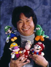 Miyamoto Shigeru is Nintendo's game design auteur, responsible for creating the Mario franchise (among other things). Courtesy of mariowiki.com.