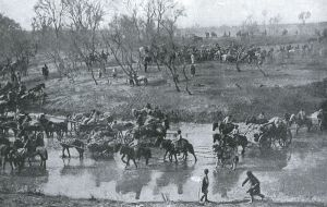 The Russian Army in retreat after the Battle of Mukden.