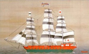 The Tokugawa shogunate inaugurated the use of the hinomaru as the national flag by using it as Japan's naval ensign. You can see this shogunal battleship -- the Asahi-maru -- displaying it.