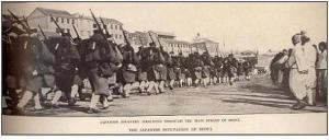 Japanese troops moving through Seoul in 1904 on their way to Manchuria to fight Russia.
