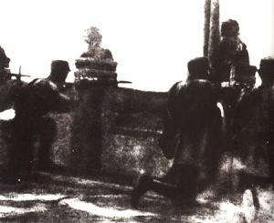 Soldiers of China's National Revolutionary Army (the armed forces of the Guomindang) fighting the Japanese at the Marco Polo Bridge.