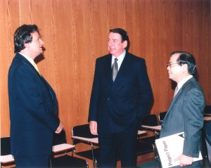 David Rosen, center, from 1985. The next year Sega would launch its first home system, the Sega Master System.