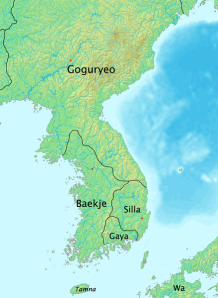 The Kingdoms of Korea. This image shows the disposition of the kingdoms in the 300s (hence the inclusion of the fourth kingdom, Gaya, which was destroyed by the time of our episode) but it should give you some idea of what things looked like on the peninsula.