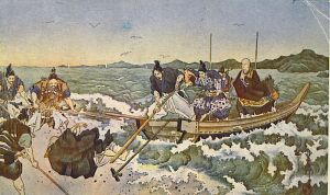 Nichiren's first exile in 1261. The collapsed figure on the shore is Nichiro, one of his disciples, who attempted to join his master in exile but was forbidden by Nichiren to do so. Courtesy of the Wikimedia Foundation.