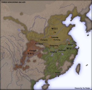 China during the Three Kingdoms Period -- Cao Wei, the kingdom which made contact with Yamatai, is the yellow one to the north.