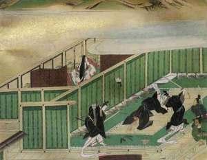 The assassination of Soga no Iruka; Nakatomi no Kamatari is the one threatening the figure on the ground (Iruka) with a sword.