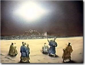 Artists rendering of the bright flash of light saving Nichiren at the execution grounds. Courtesy of Nichiren Shoshu Myoshinji Temple.