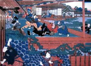 A print depicting Asano's attack on Kira, triggering the whole cycle of revenge around which the 47 ronin tale revolves.