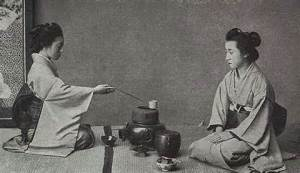 A somewhat modern photograph of the Chanoyu, or tea ceremony.