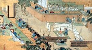 Oishi's ceremonial suicide (seppuku).