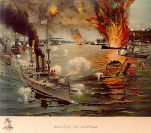 The USS Olympia entering Manila Bay. The US seizure of the Philippines from Spain upset some Japanese Pan-Asianists.