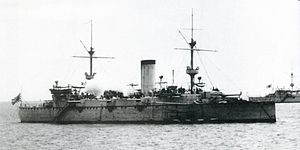 The IJN Naniwa, dispatched to Hawaii to protect Japanese interests there. Its arrival precipitated the first Japan-US war scare in history.