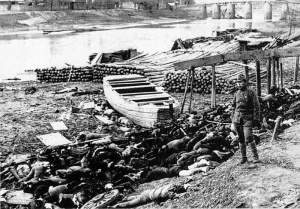 Massacre victims piled on the shore of the Yangtze River after the Japanese occupation of Nanjing.