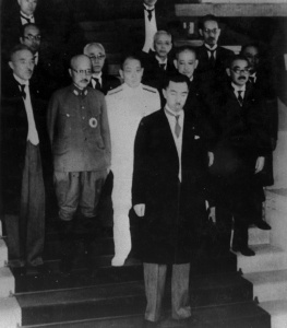 Konoe Fumimaro's 2nd cabinet in 1940. Tojo Hideki is standing in the second row on the left side.