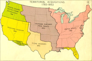 A map showing the continental expansion of the US over the course of 77 years.