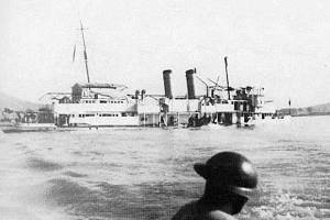 The USS Panay sinking in the Yangtze after being struck by Japanese fighters during the sack of Nanjing.