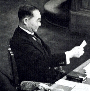 Yonai Mitsumasa addressing the Diet in early 1940. Yonai would attempt to defuse tensions between the US and Japan but be blocked by the army and hardliners in the navy.