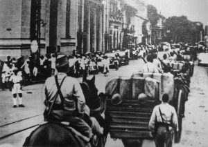 Japanese troops entering Saigon in southern Indochina in July, 1941. The Japanese miscalculated, thinking that the United States would not put too much pressure on Japan as a result of the move.