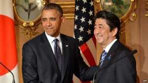 The current leaders of Japan and the United States: President Barack Obama and Prime Minister Abe Shinzo.