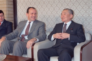 Michael Armacost during his time as ambassador to Japan (shown here with PM Takeshita Noboru). Armacost would return to Japan in the early 2000s as part of a push to get Japan to support America's War on Terror.