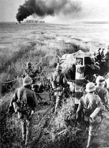 German troops crossing the Soviet border in June, 1941. The invasion of the Soviet Union was a diplomatic disaster for Japan.