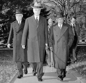 Cordell Hull (center) with Ambassador Nomura (left) and Kurusu Saburo (right) on the way to the White House in November, 1941.