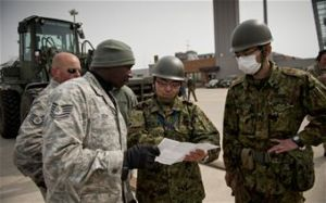 American Air Force personnel coordinating humanitarian efforts in Tohoku with the JSDF. Courtesy of the United States Pacific Air Forces.