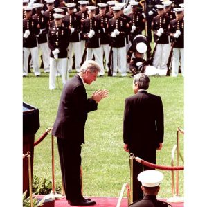 President Bill Clinton was the first president to take a more assertive stance with the Japanese. He's shown here greeting Emperor Akihito on a state visit to the US. Courtesy of Telegraph.co.uk.