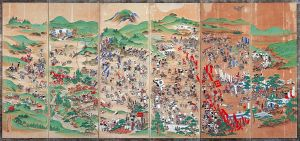 The Battle of Sekigahara. This screen of the battle was comissioned by the Tokugawa after their seizure of power as a reminder of their great triumph.