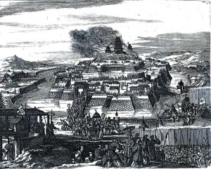 "An illustration of the fall of Osaka Castle done by a French Huguenot working for the Dutch East India company called Francois Capon. Capon wrote a book called ""A True Description of the Mighty Kingdoms of Japan and Siam,"" from which this illustration is taken."